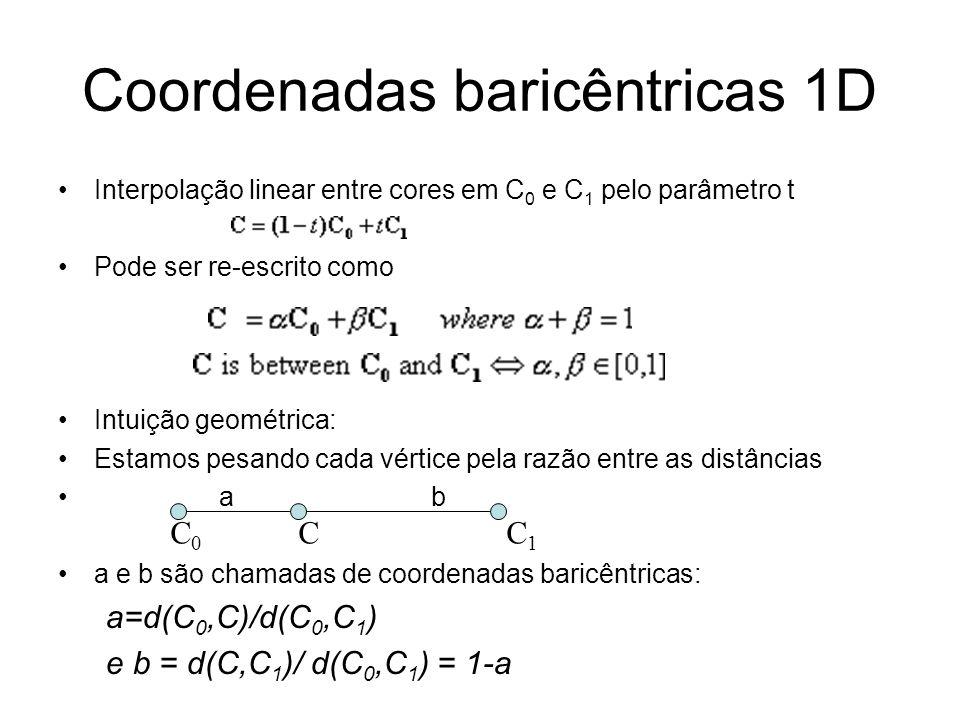 Coordenadas baricêntricas 1D Interpolação linear entre cores em C 0 e C 1 pelo parâmetro t Pode ser re-escrito como Intuição geométrica: Estamos pesan