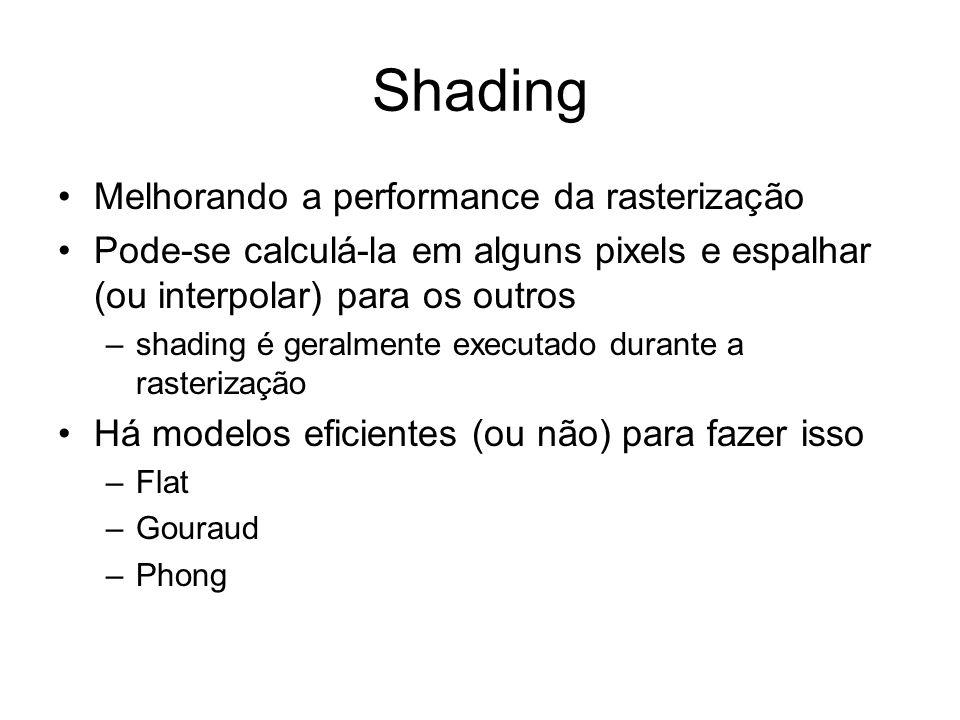 Faceted (Flat) Shading Calcula valor da normal e determina o valor da iluminação (shading) para o centro do polígono (I(x,y)=…) que será o mesmo para todos os pixels dentro de cada polígono