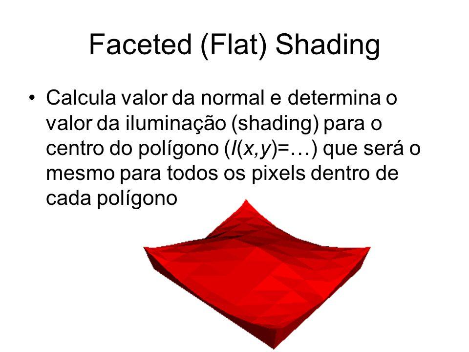 Faceted (Flat) Shading Calcula valor da normal e determina o valor da iluminação (shading) para o centro do polígono (I(x,y)=…) que será o mesmo para