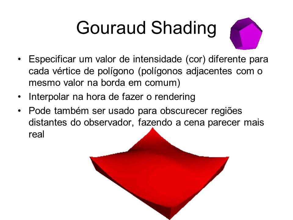 Gouraud Shading Especificar um valor de intensidade (cor) diferente para cada vértice de polígono (polígonos adjacentes com o mesmo valor na borda em