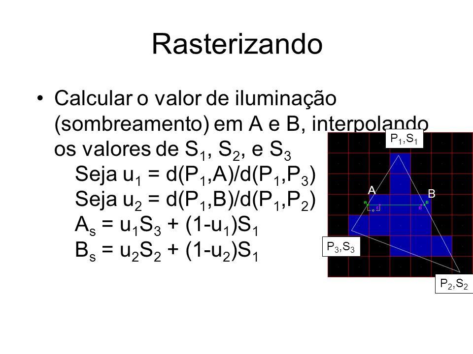 Rasterizando Calcular o gradiente de sombreamento ao longo da linha ( G s ): –G s = (B s - A s ) / d(A,B) –Obs: d(A,B) = (B x -A x ), onde A x,B x = valor da coordenada em X de A,B Calcular valor de cada pixel e pintar tela: Shade = C s ~= A s loop X from C x to D x plot pixel at (X,Y) with Shade Shade = Shade + G s End of X loop Obs: valor exato em C: C s = A s + (1-frac(A x ))*G s => G s = gradiente P 1,S 1 P 3,S 3 P 2,S 2