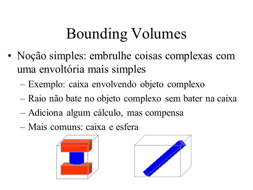 Bounding Volumes Noção simples: embrulhe coisas complexas com uma envoltória mais simples –Exemplo: caixa envolvendo objeto complexo –Raio não bate no