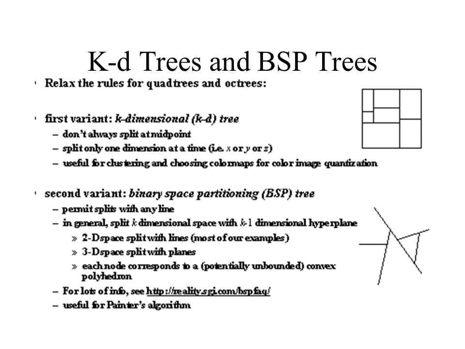 K-d Trees and BSP Trees