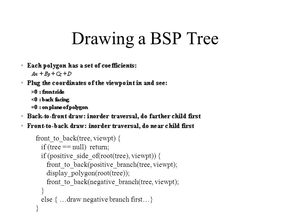 Drawing a BSP Tree front_to_back(tree, viewpt) { if (tree == null) return; if (positive_side_of(root(tree), viewpt)) { front_to_back(positive_branch(tree, viewpt); display_polygon(root(tree)); front_to_back(negative_branch(tree, viewpt); } else { …draw negative branch first…} }
