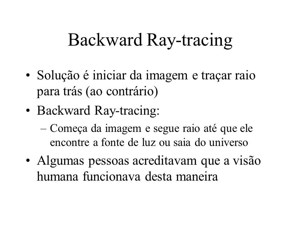 Backward Ray-tracing Solução é iniciar da imagem e traçar raio para trás (ao contrário) Backward Ray-tracing: –Começa da imagem e segue raio até que e