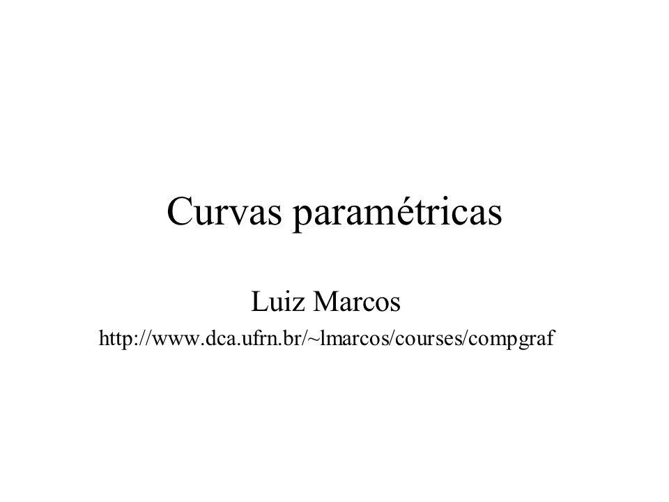 Curvas e superfícies paramétricas Paramétrica versus Implícita Curvas paramétricas –Spline de Hermite –Spline de Bèzier Como generalizar (superfícies)