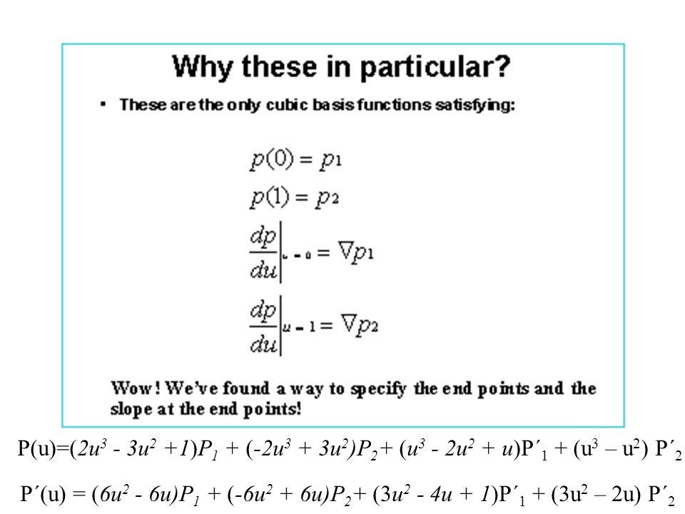 P´(u) = (6u 2 - 6u)P 1 + (-6u 2 + 6u)P 2 + (3u 2 - 4u + 1)P´ 1 + (3u 2 – 2u) P´ 2
