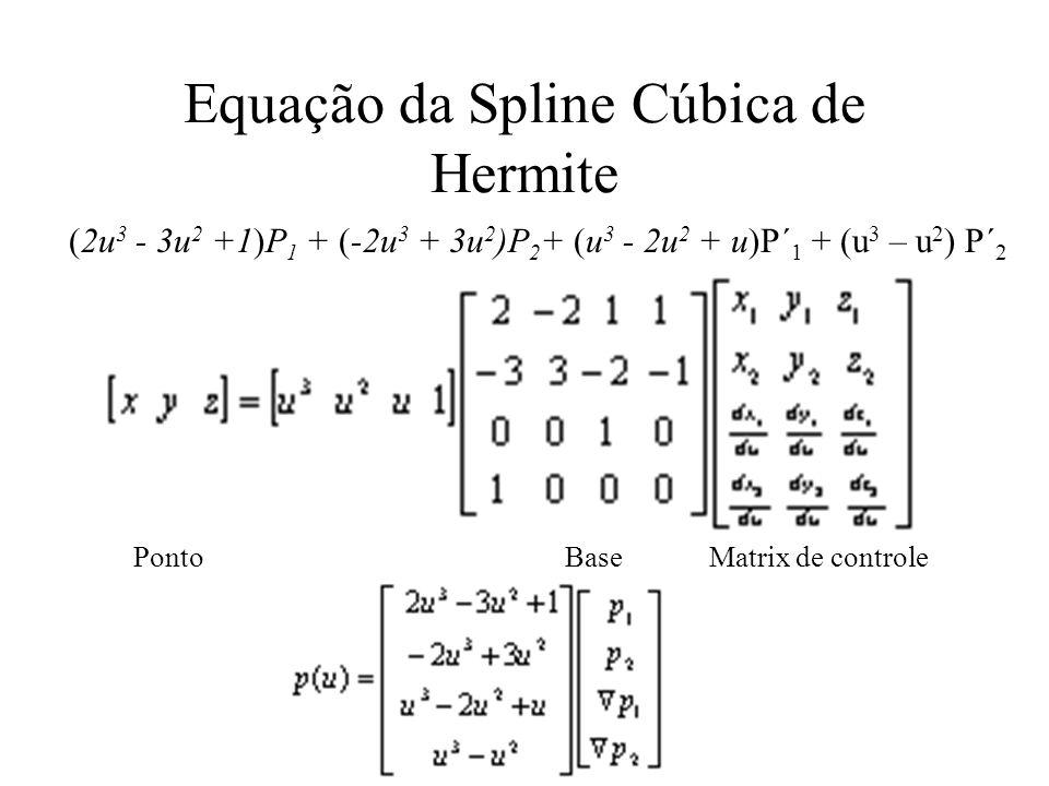 Equação da Spline Cúbica de Hermite Ponto Base Matrix de controle (2u 3 - 3u 2 +1)P 1 + (-2u 3 + 3u 2 )P 2 + (u 3 - 2u 2 + u)P´ 1 + (u 3 – u 2 ) P´ 2