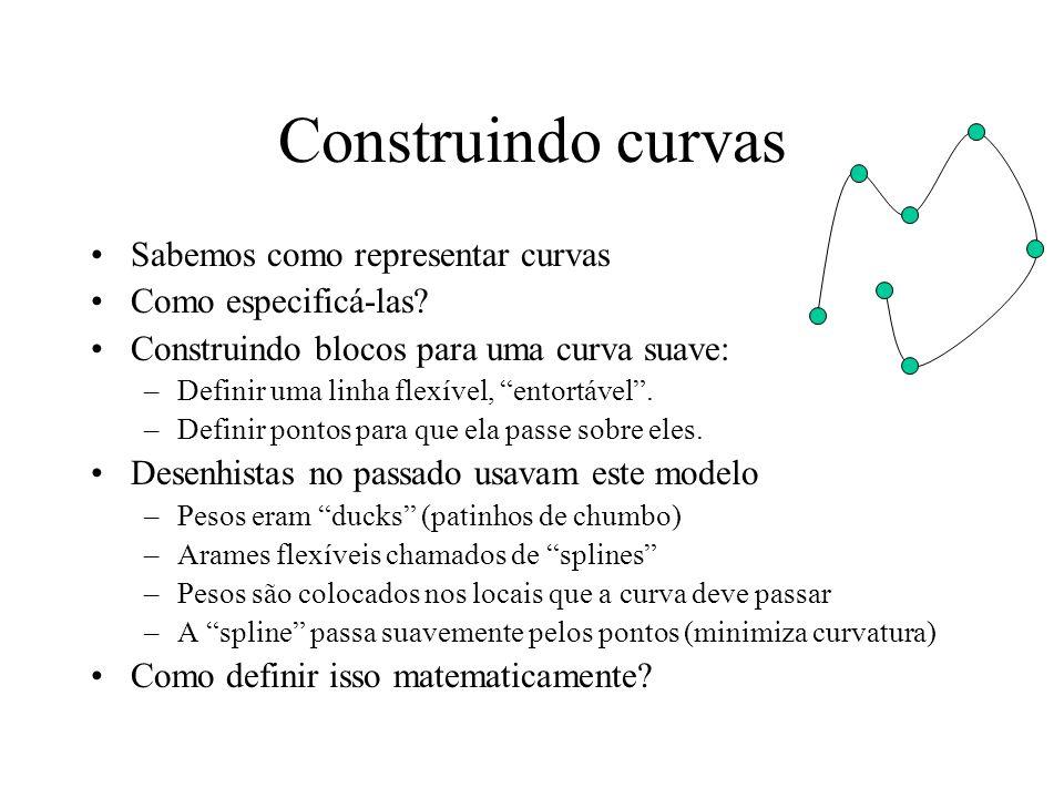 Construindo curvas Sabemos como representar curvas Como especificá-las.