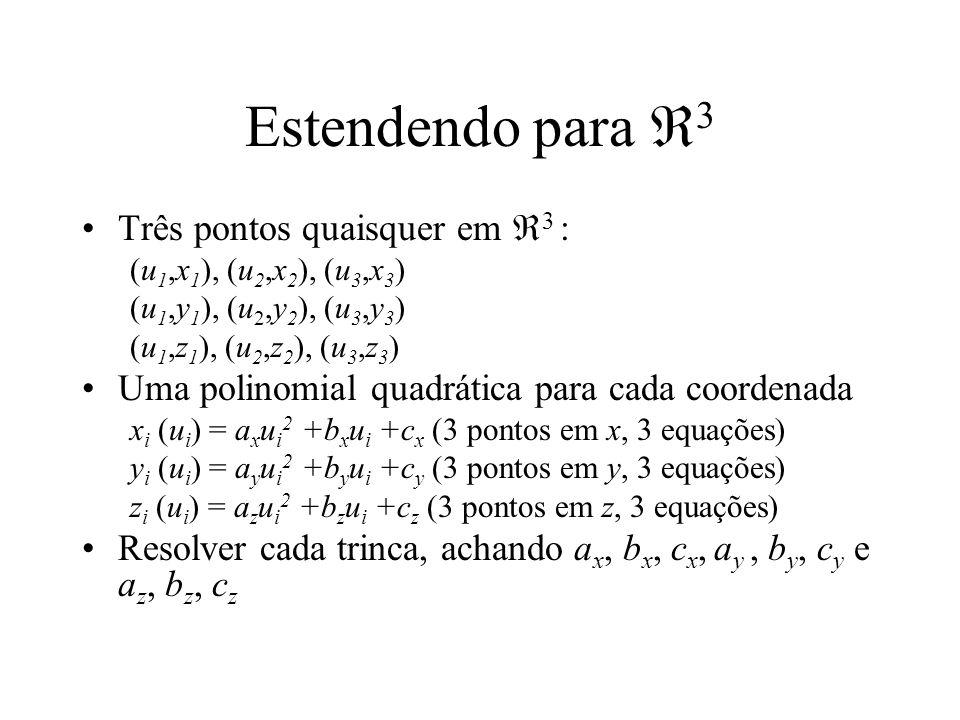 Estendendo para 3 Três pontos quaisquer em 3 : (u 1,x 1 ), (u 2,x 2 ), (u 3,x 3 ) (u 1,y 1 ), (u 2,y 2 ), (u 3,y 3 ) (u 1,z 1 ), (u 2,z 2 ), (u 3,z 3 ) Uma polinomial quadrática para cada coordenada x i (u i ) = a x u i 2 +b x u i +c x (3 pontos em x, 3 equações) y i (u i ) = a y u i 2 +b y u i +c y (3 pontos em y, 3 equações) z i (u i ) = a z u i 2 +b z u i +c z (3 pontos em z, 3 equações) Resolver cada trinca, achando a x, b x, c x, a y, b y, c y e a z, b z, c z