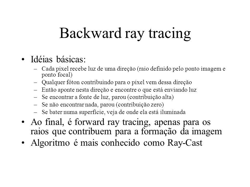 Idéias básicas: –Cada pixel recebe luz de uma direção (raio definido pelo ponto imagem e ponto focal) –Qualquer fóton contribuindo para o pixel vem dessa direção –Então aponte nesta direção e encontre o que está enviando luz –Se encontrar a fonte de luz, parou (contribuição alta) –Se não encontrar nada, parou (contribuição zero) –Se bater numa superfície, veja de onde ela está iluminada Ao final, é forward ray tracing, apenas para os raios que contribuem para a formação da imagem Algoritmo é mais conhecido como Ray-Cast