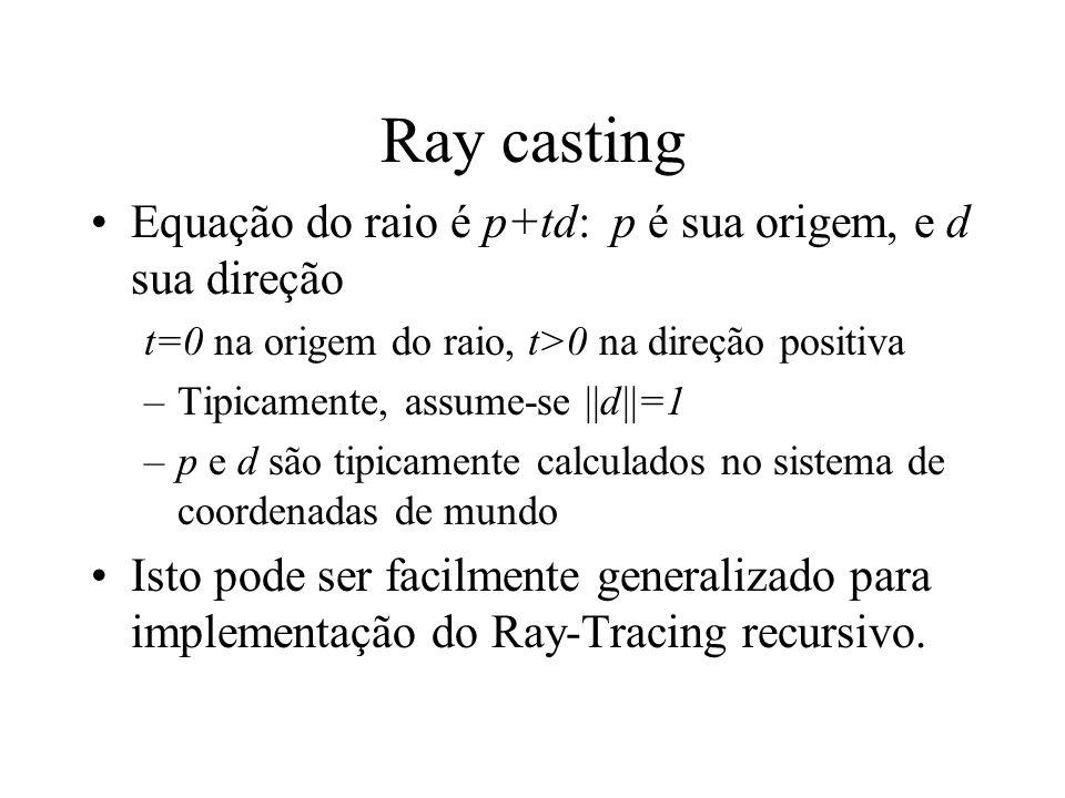 Ray casting Equação do raio é p+td: p é sua origem, e d sua direção t=0 na origem do raio, t>0 na direção positiva –Tipicamente, assume-se ||d||=1 –p e d são tipicamente calculados no sistema de coordenadas de mundo Isto pode ser facilmente generalizado para implementação do Ray-Tracing recursivo.