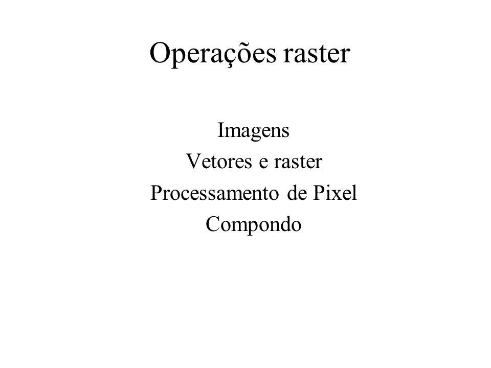 Operações raster Imagens Vetores e raster Processamento de Pixel Compondo