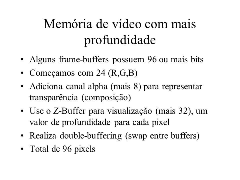 Memória de vídeo com mais profundidade Alguns frame-buffers possuem 96 ou mais bits Começamos com 24 (R,G,B) Adiciona canal alpha (mais 8) para repres