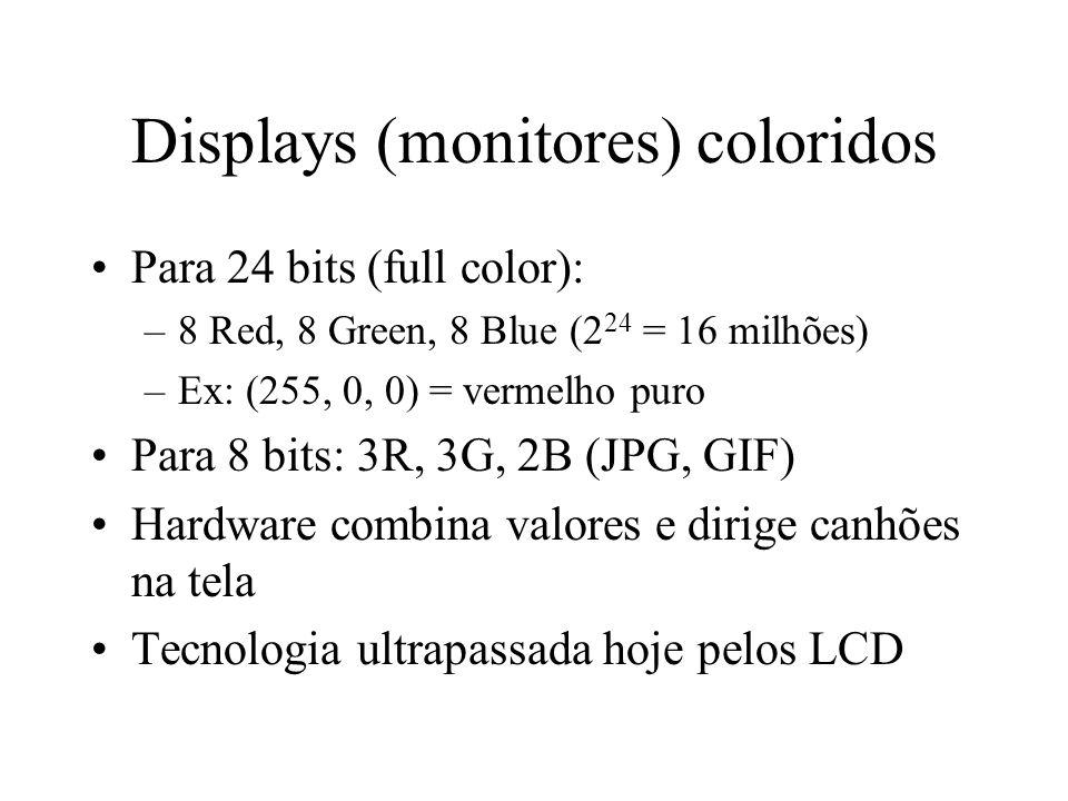 Displays (monitores) coloridos Para 24 bits (full color): –8 Red, 8 Green, 8 Blue (2 24 = 16 milhões) –Ex: (255, 0, 0) = vermelho puro Para 8 bits: 3R