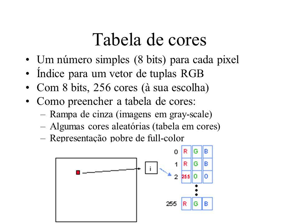 Tabela de cores Um número simples (8 bits) para cada pixel Índice para um vetor de tuplas RGB Com 8 bits, 256 cores (à sua escolha) Como preencher a t