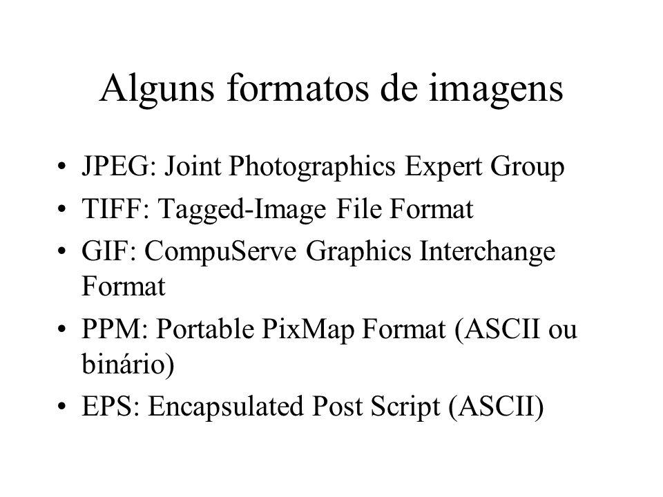 Alguns formatos de imagens JPEG: Joint Photographics Expert Group TIFF: Tagged-Image File Format GIF: CompuServe Graphics Interchange Format PPM: Port