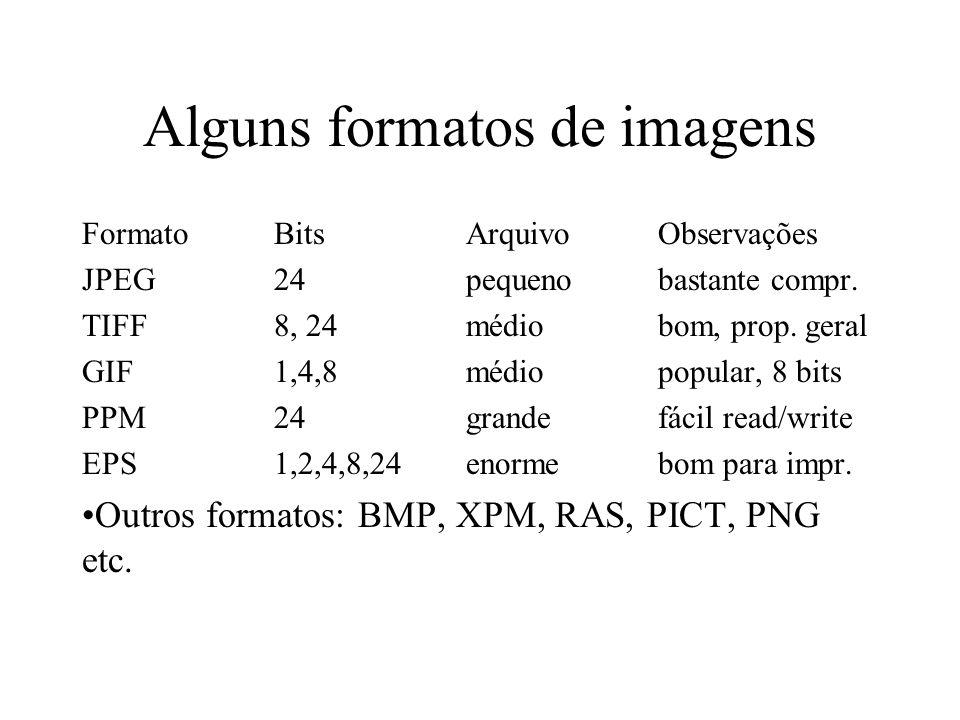Alguns formatos de imagens FormatoBitsArquivoObservações JPEG24pequenobastante compr. TIFF8, 24médiobom, prop. geral GIF1,4,8médiopopular, 8 bits PPM2