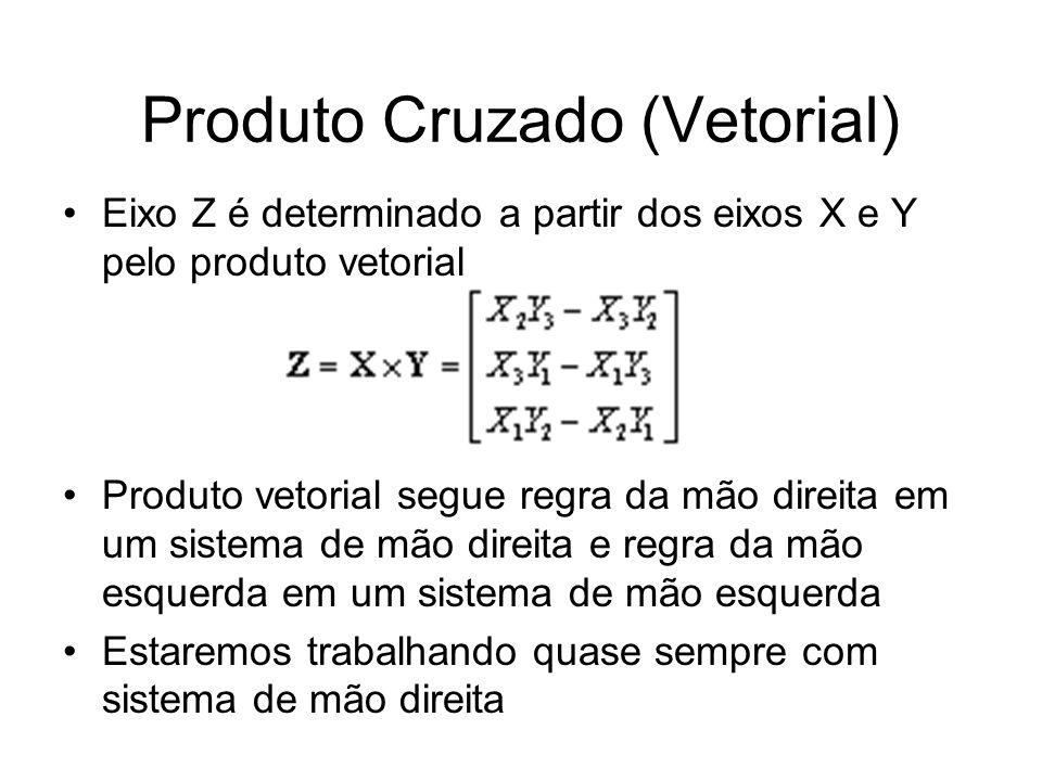 Produto Cruzado (Vetorial) Eixo Z é determinado a partir dos eixos X e Y pelo produto vetorial Produto vetorial segue regra da mão direita em um siste