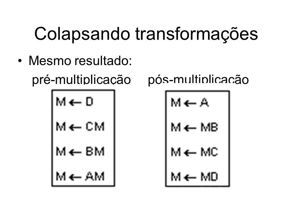 Colapsando transformações Mesmo resultado: pré-multiplicação pós-multiplicação