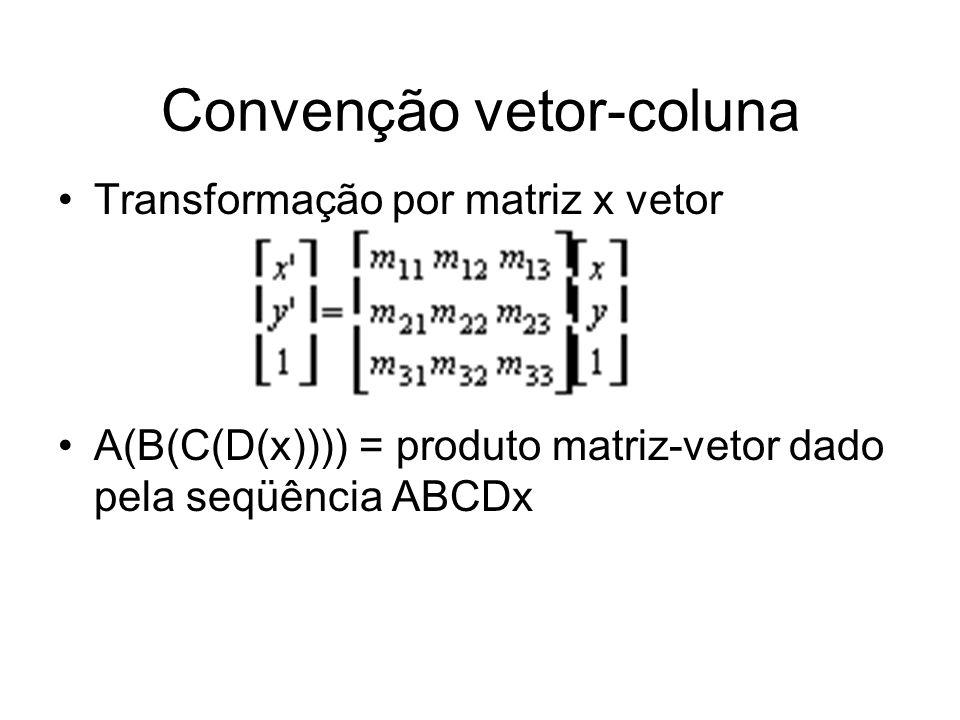 Convenção vetor-coluna Transformação por matriz x vetor A(B(C(D(x)))) = produto matriz-vetor dado pela seqüência ABCDx