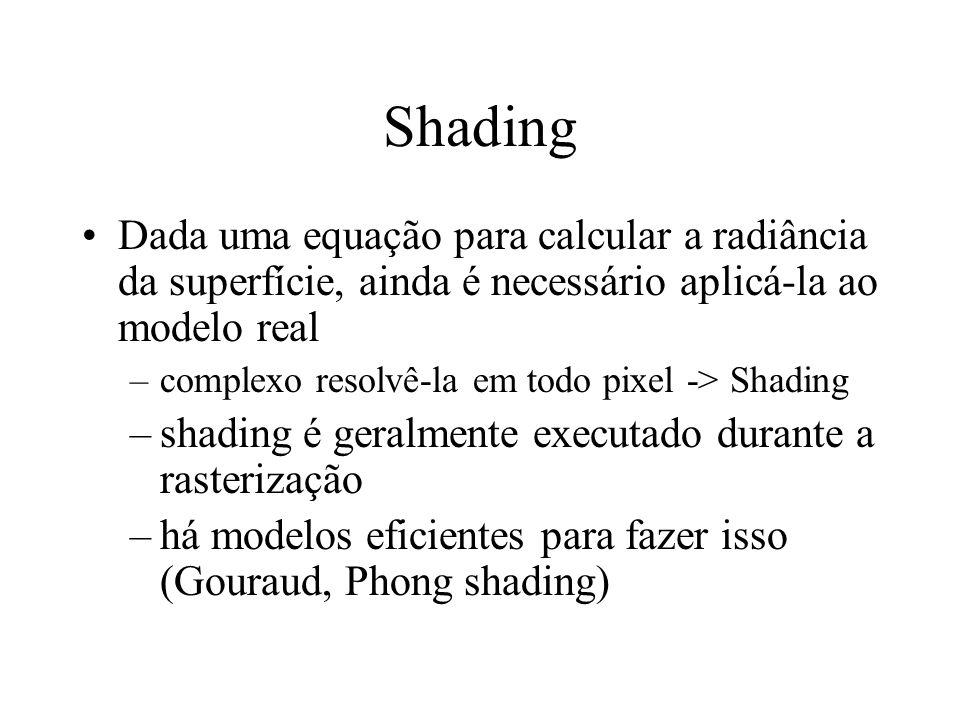 Shading Dada uma equação para calcular a radiância da superfície, ainda é necessário aplicá-la ao modelo real –complexo resolvê-la em todo pixel -> Sh