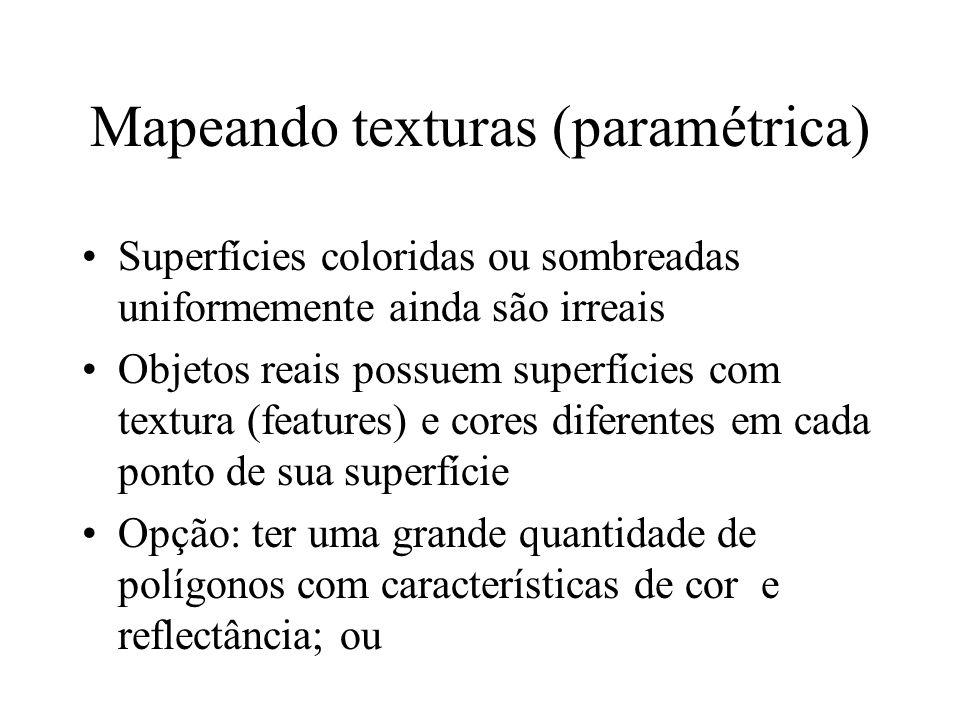 Mapeando texturas (paramétrica) Superfícies coloridas ou sombreadas uniformemente ainda são irreais Objetos reais possuem superfícies com textura (fea