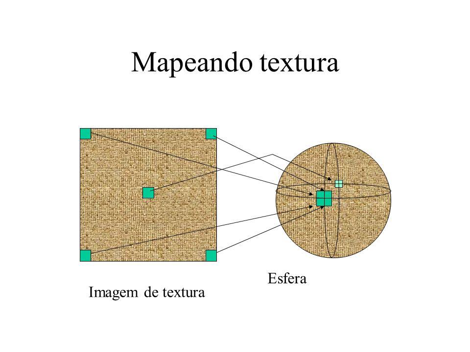 Em resumo Mapeamento de textura diz a cor dos pontos Mapeamento de textura muda a radiância (iluminação ambiente) e reflexão (ks, kd) Mapeamento de textura move a superfície (bump map) Mapeamento de textura move a superfície (mapa de deslocamentos) Mapeamento de textura muda a iluminação