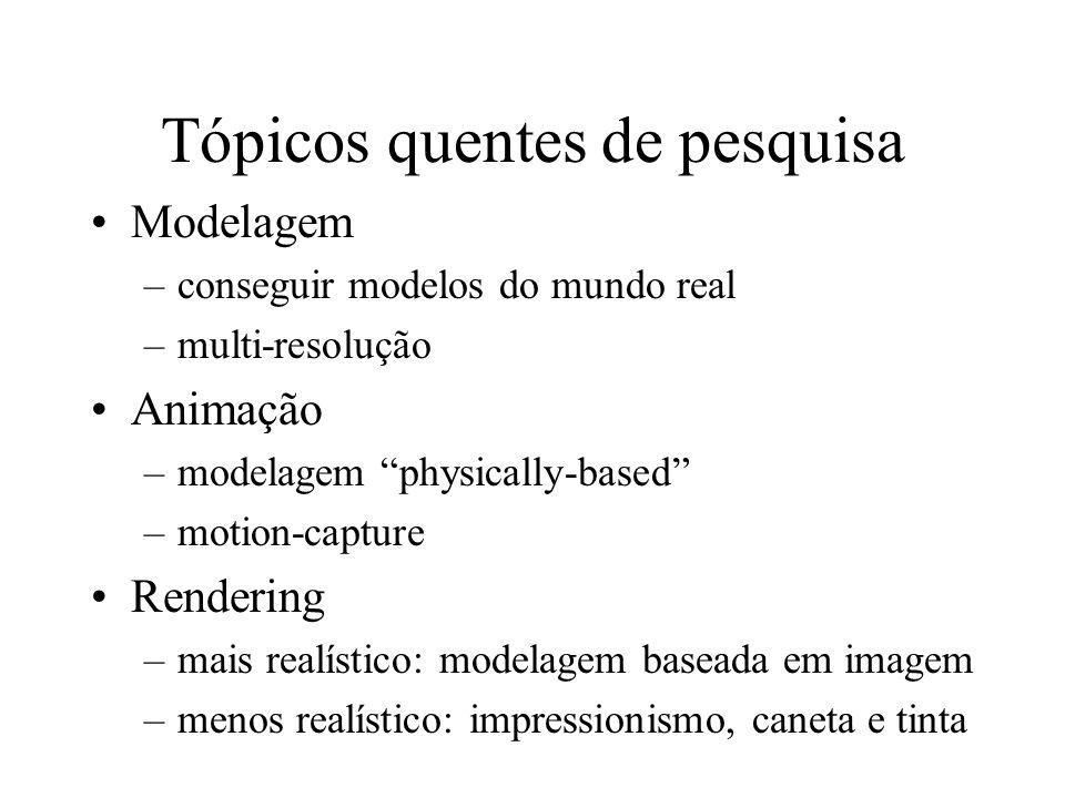 Tópicos quentes de pesquisa Modelagem –conseguir modelos do mundo real –multi-resolução Animação –modelagem physically-based –motion-capture Rendering