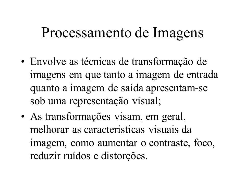 Processamento de Imagens Envolve as técnicas de transformação de imagens em que tanto a imagem de entrada quanto a imagem de saída apresentam-se sob u