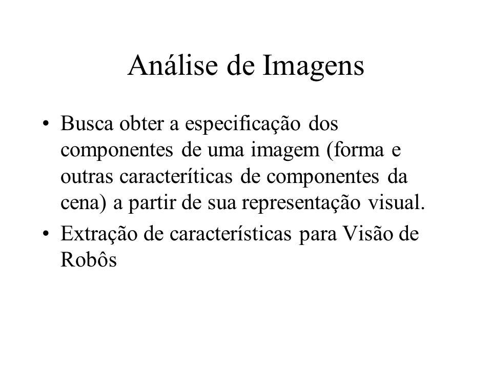 Análise de Imagens Busca obter a especificação dos componentes de uma imagem (forma e outras caracteríticas de componentes da cena) a partir de sua re