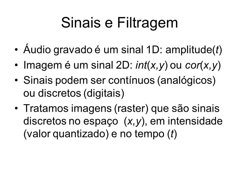 Sinais e Filtragem Áudio gravado é um sinal 1D: amplitude(t) Imagem é um sinal 2D: int(x,y) ou cor(x,y) Sinais podem ser contínuos (analógicos) ou dis