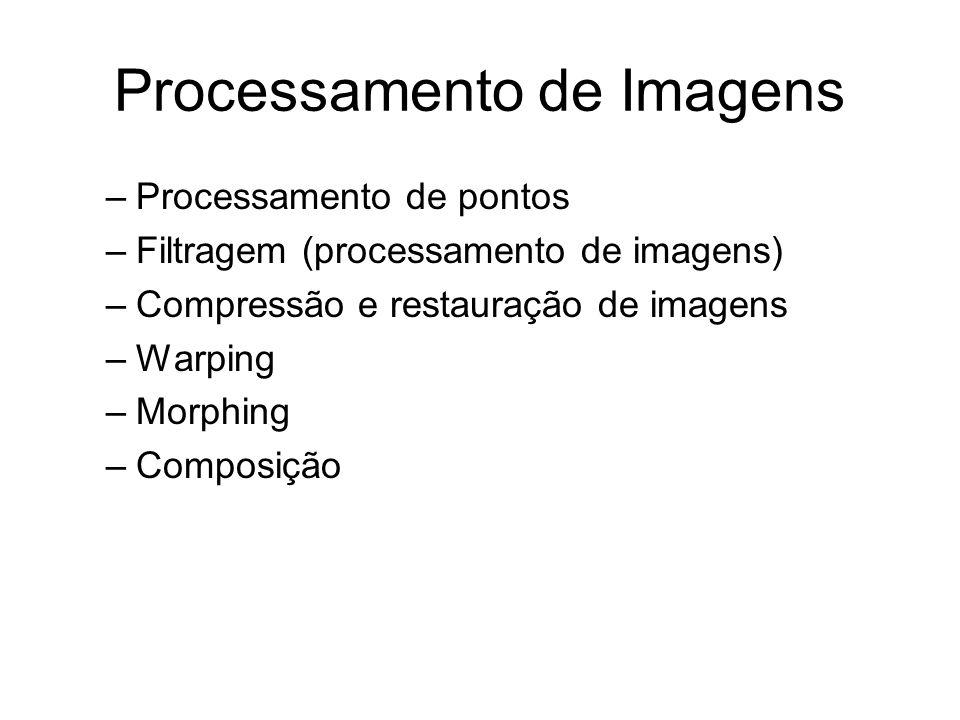 Processamento de Imagens –Processamento de pontos –Filtragem (processamento de imagens) –Compressão e restauração de imagens –Warping –Morphing –Compo