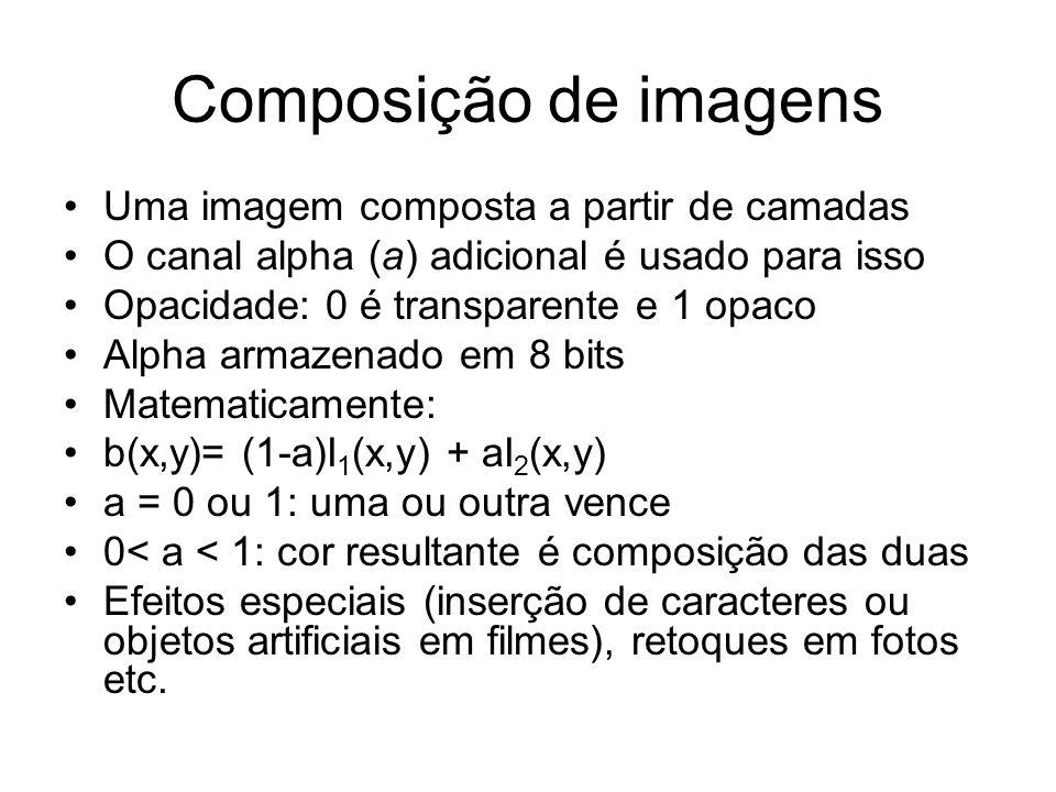 Composição de imagens Uma imagem composta a partir de camadas O canal alpha (a) adicional é usado para isso Opacidade: 0 é transparente e 1 opaco Alph