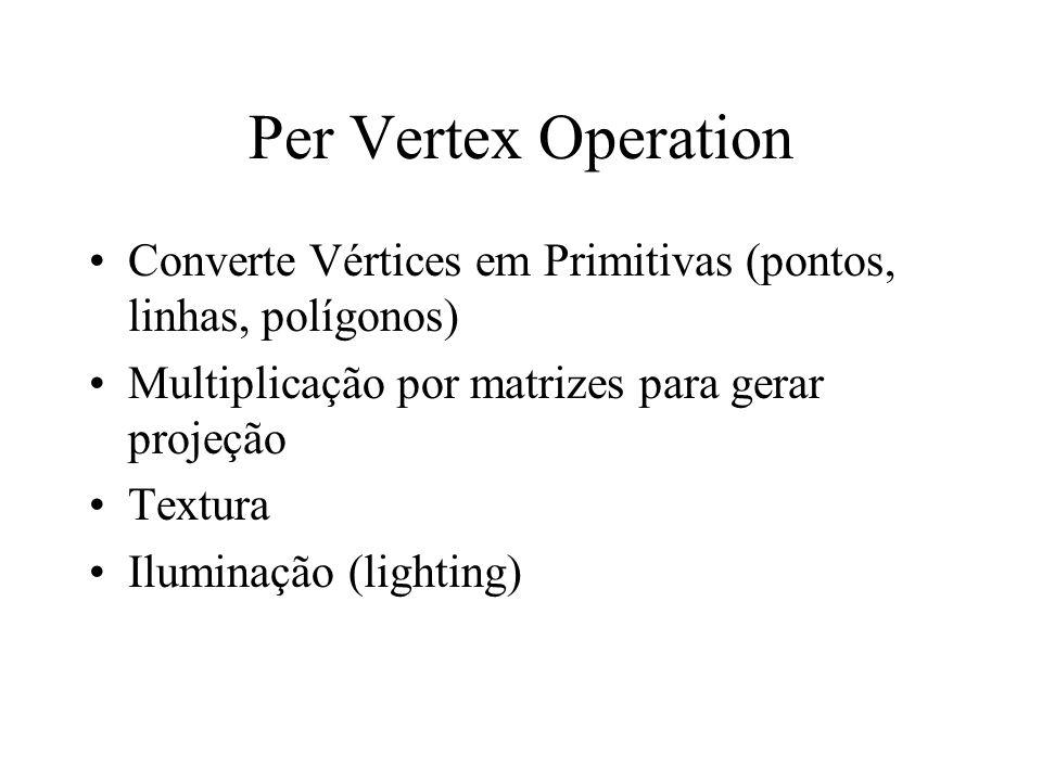 Per Vertex Operation Converte Vértices em Primitivas (pontos, linhas, polígonos) Multiplicação por matrizes para gerar projeção Textura Iluminação (li