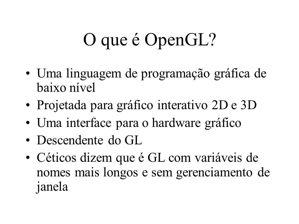 O que é OpenGL? Uma linguagem de programação gráfica de baixo nível Projetada para gráfico interativo 2D e 3D Uma interface para o hardware gráfico De