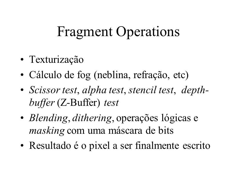 Fragment Operations Texturização Cálculo de fog (neblina, refração, etc) Scissor test, alpha test, stencil test, depth- buffer (Z-Buffer) test Blendin