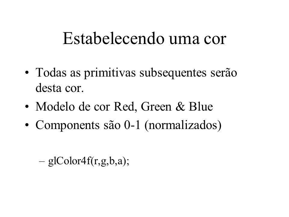 Estabelecendo uma cor Todas as primitivas subsequentes serão desta cor. Modelo de cor Red, Green & Blue Components são 0-1 (normalizados) –glColor4f(r