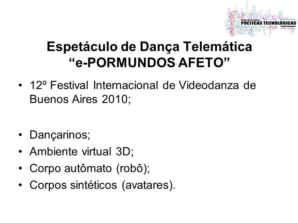 Espetáculo de Dança Telemática e-PORMUNDOS AFETO 12º Festival Internacional de Videodanza de Buenos Aires 2010; Dançarinos; Ambiente virtual 3D; Corpo