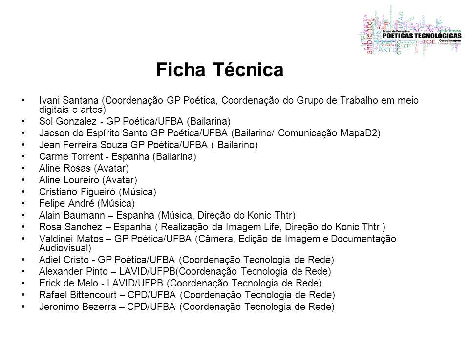 Ficha Técnica Ivani Santana (Coordenação GP Poética, Coordenação do Grupo de Trabalho em meio digitais e artes) Sol Gonzalez - GP Poética/UFBA (Bailar