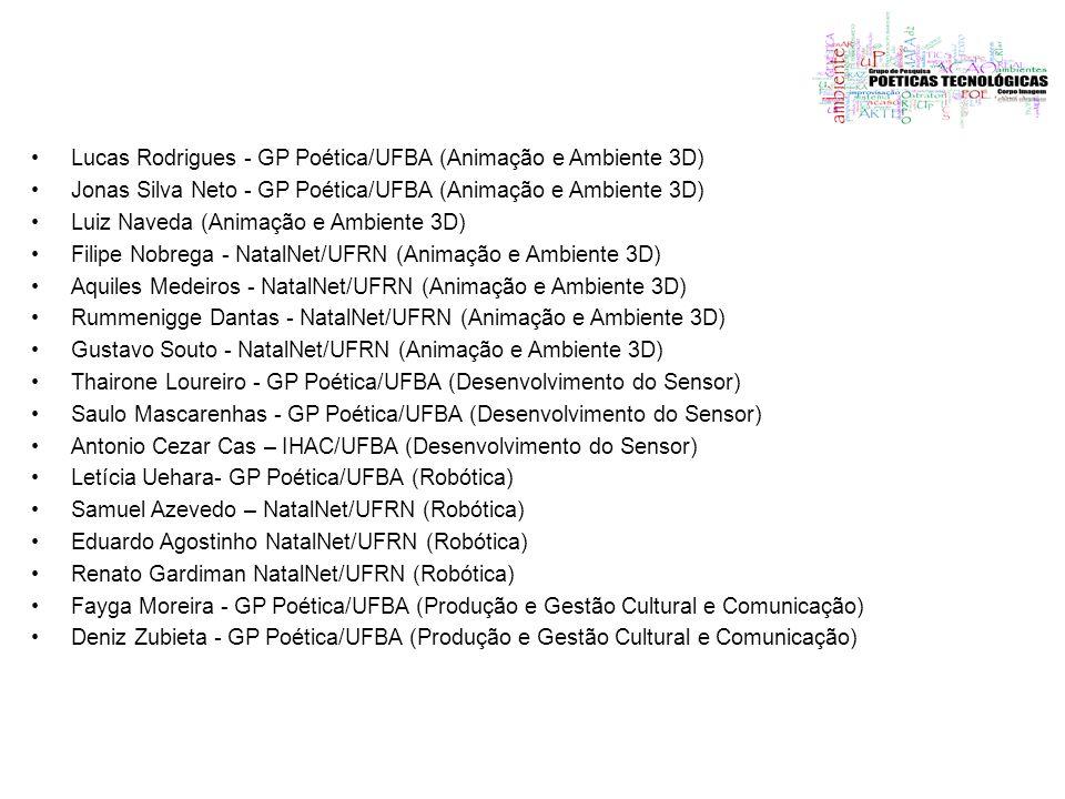 Lucas Rodrigues - GP Poética/UFBA (Animação e Ambiente 3D) Jonas Silva Neto - GP Poética/UFBA (Animação e Ambiente 3D) Luiz Naveda (Animação e Ambient