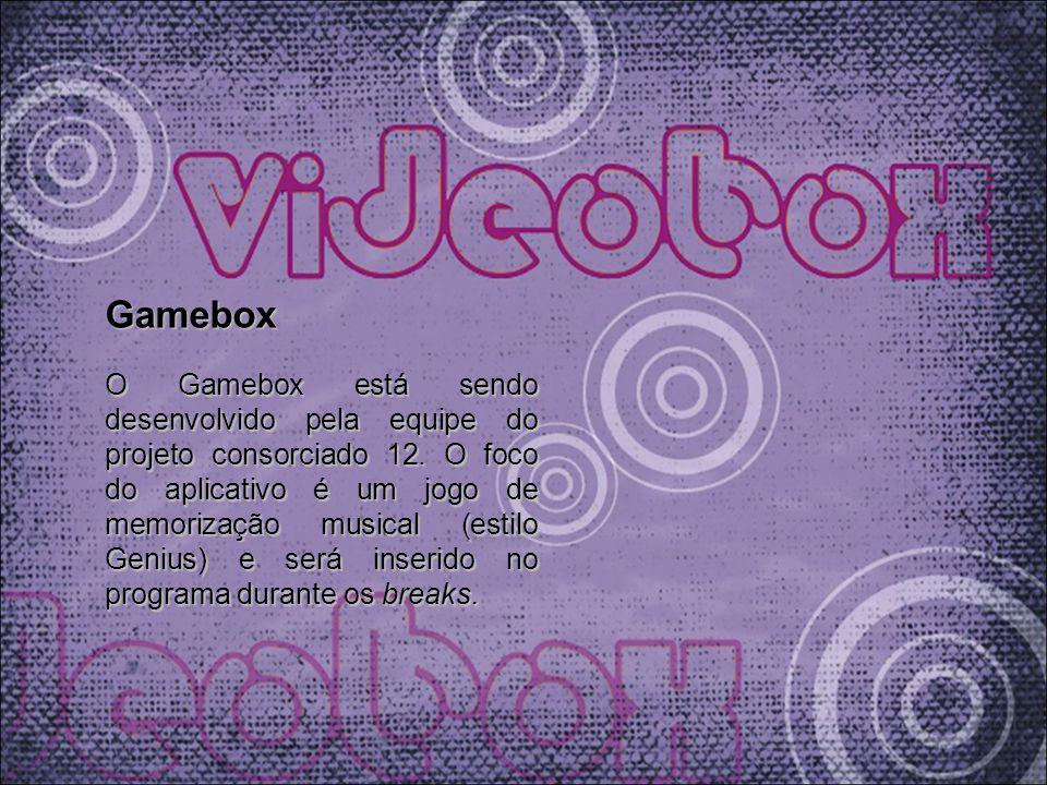 Gamebox O Gamebox está sendo desenvolvido pela equipe do projeto consorciado 12. O foco do aplicativo é um jogo de memorização musical (estilo Genius)