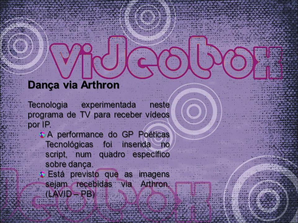 Dança via Arthron Tecnologia experimentada neste programa de TV para receber vídeos por IP. A performance do GP Poéticas Tecnológicas foi inserida no