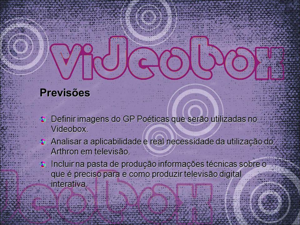 Previsões Definir imagens do GP Poéticas que serão utilizadas no Videobox. Analisar a aplicabilidade e real necessidade da utilização do Arthron em te