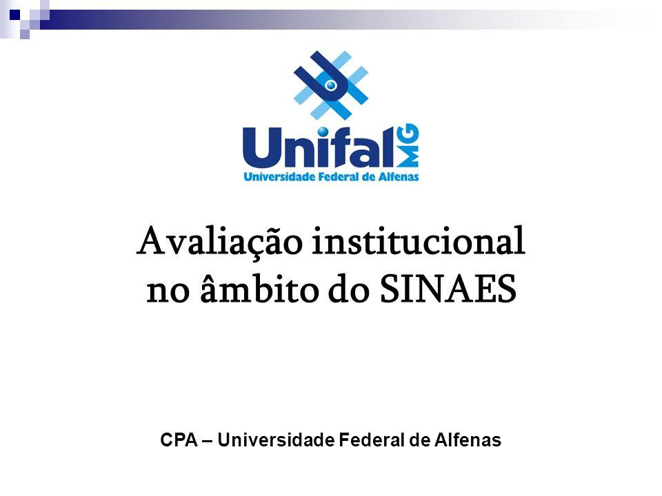 Avaliação institucional no âmbito do SINAES CPA – Universidade Federal de Alfenas