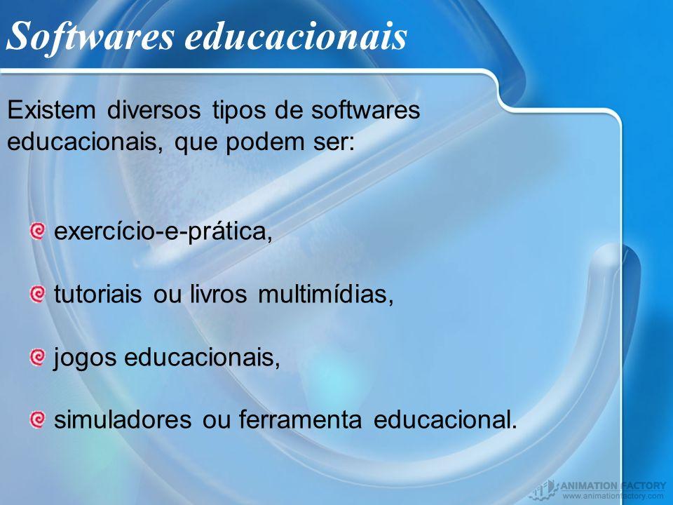 Softwares educacionais Existem diversos tipos de softwares educacionais, que podem ser: exercício-e-prática, tutoriais ou livros multimídias, jogos ed
