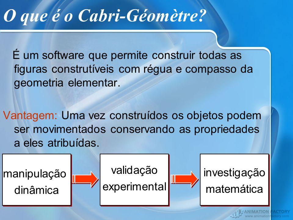 O que é o Cabri-Géomètre? É um software que permite construir todas as figuras construtíveis com régua e compasso da geometria elementar. Vantagem: Um