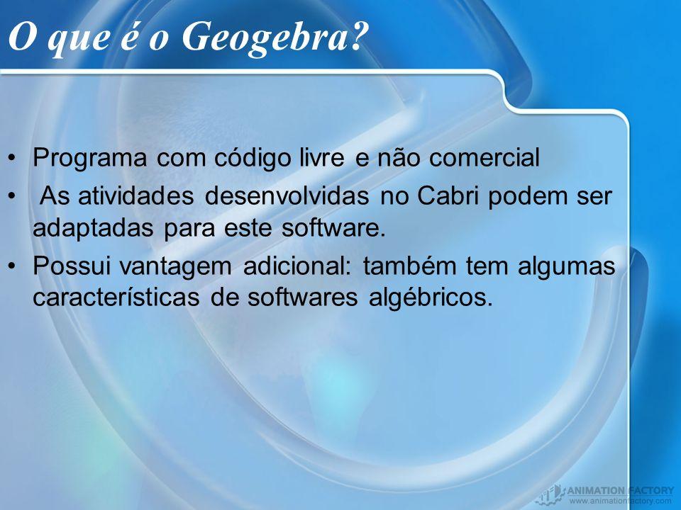 O que é o Geogebra? Programa com código livre e não comercial As atividades desenvolvidas no Cabri podem ser adaptadas para este software. Possui vant
