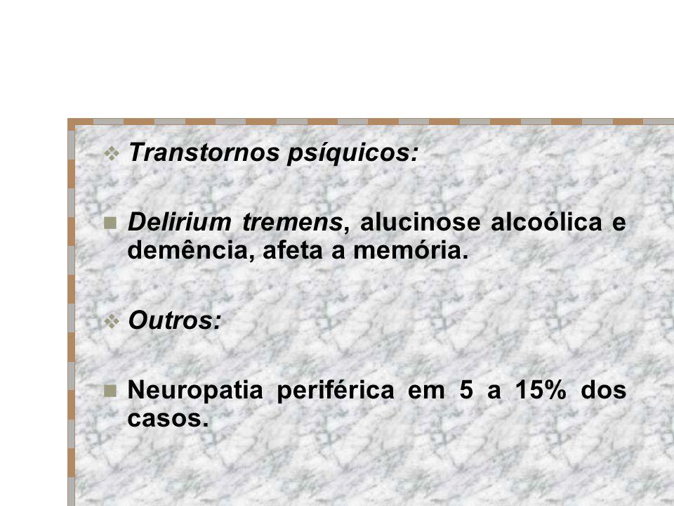 Transtornos psíquicos: Delirium tremens, alucinose alcoólica e demência, afeta a memória. Outros: Neuropatia periférica em 5 a 15% dos casos.