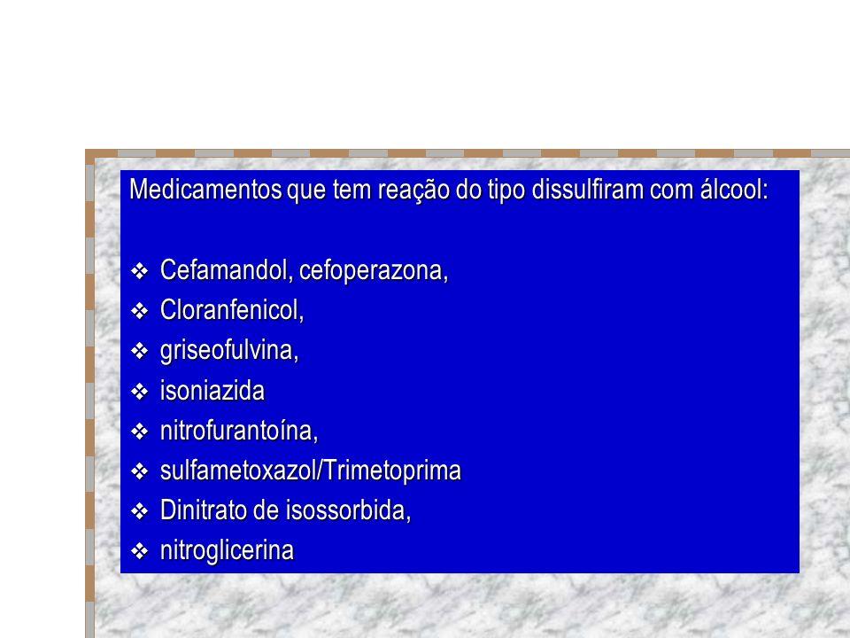 Medicamentos que tem reação do tipo dissulfiram com álcool: Cefamandol, cefoperazona, Cefamandol, cefoperazona, Cloranfenicol, Cloranfenicol, griseofu